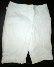 New Womens White Crop Pants Ann TAylor Loft 12 Work Vertical Stripes Office Line