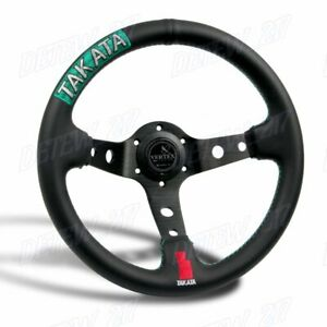 New Green Stitches 330mm Embroidery Vertex Leather Deep Dish Steering Wheel