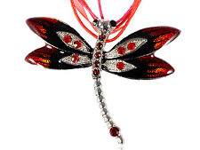 Vintage Red Enamel Ruby Dragonfly Necklace Pendant Fashion Women Lady Jewelry