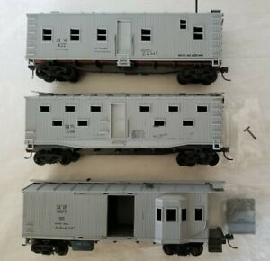 LOF of (3) TRAIN MINIATURE HO MOW BUNK CAR, KITCHEN CAR, SUPPLY CABOOSE w/KD's