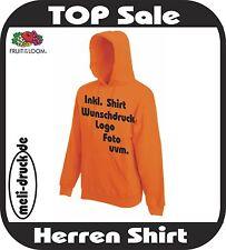 Kapuzen Sweat Shirt Hoody bedrucken in 19 verschiedenen Farben individuell NEU!