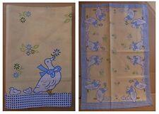 Strofinaccio papere oche anatre con fiocco azzurro e anatroccoli cuccioli