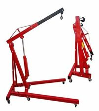 2 Ton Tonne Folding Hydraulic Engine Crane Workshop Hoist Lifter Jack Wheel UK