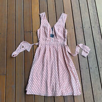 New Tokito Size 6 Fit & Flare Dress Apricot Black Pattern Business Cocktail