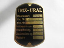 IMZ Oural M 72 plaque signalétique Id-plate jour PLACCA plaques TU constructeur m72 laiton