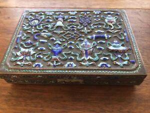 Antique Chinese Export Filigree Cobalt Blue Enamel Gilt Metal Box c1900