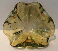 "Mid Century 7"" Murano Glass Cigar Ashtray Yellow Green Controlled Bubbles EUC"