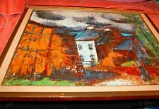 1929 Francesca Chandon Oil Painting of Landscape Scuffed Wood Framed