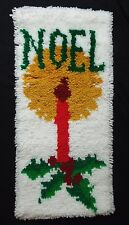 Christmas Latch Hook Wall Hanging Rug NOEL Candle Finished Holly Flame Complete