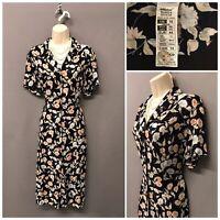 St Michael M&S Navy Floral Retro Dress UK 16 EUR 44 US 12