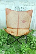 Retro Rustic Leather and can Butterfly Relax Arm Chair BKF Brown