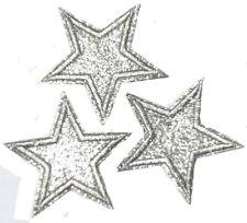 3 Applikationen glitzer silber Stern 6,5 cm Patches Star Aufbügler