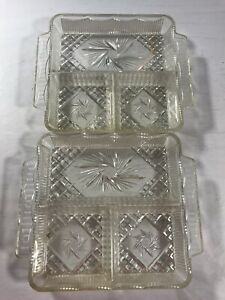 Vintage Clear Plastic Set of 2 Dishes Art Decor Candy Table Wear Collectible