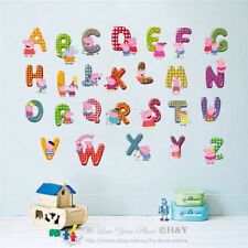 Peppa Pig 26 Alphabets Letters Wall Sticker Nursery Decor Removable Vinyl Decal
