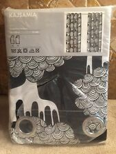 ikea kajsamia black white tree pair curtain panel grommet canvas 57 x 98 new