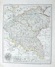 1853 Posen Poznan Polen Stahlstich-Landkarte Radefeld