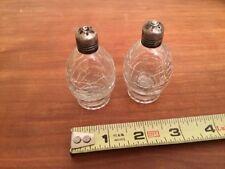 Vintage Crackle Glass Salt & Pepper Shakers Sterling Silver Tops