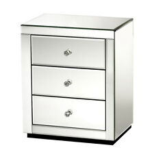 Artiss Mirrored Nightstand 3-Drawer Bedside Table - Silver