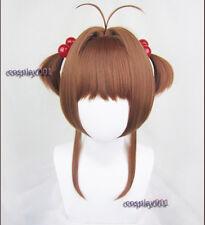 Card Captor Sakura Kinomoto Sakura Cosplay Wig + 2 Red Balls Hairbands + Wig Cap