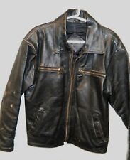 Classic Black Leather Men'S Four Pocket Zipper Heavy Jacket Size Large