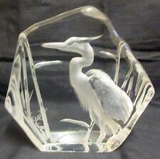 Vintage Large Mats Jonasson Heron Lead Crystal Paperweight