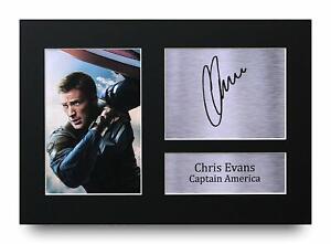 Chris Evans Signed A4 Framed Printed Autograph Print Captain America Avengers