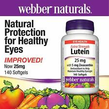 Webber Naturals Extra Strength Lutein 25mg w/ Zeaxanthin Eye Health 140 Softgels