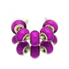 2pcs Silver Murano Purple Red Acrylic Charms Beads Fit European Charm Bracelet