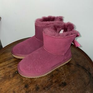 GIRLS WARM WINTER BOOTS FUR LINED GRIP SOLE GEBRA SNUGG BOW BOOTS UK 2