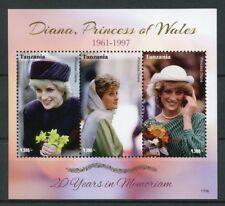 Tanzania 2017 MNH Princess Diana of Wales 20th Memorial 3v M/S I Royalty Stamps