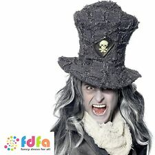GREY GRAVEDIGGER TOP HAT WITH SKULL EMBLEM mens halloween fancy dress costume