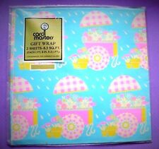 "VINTAGE GIFT WRAP SHOWER PAPER SEALED PKG. 2 SHEETS EACH 20""x24.5"""