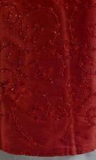 "NWT 52"" Christmas Shoppe Tree Skirt  - Crimson with Bead & Sequin Leafy Vines"