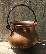 Vintage Copper Cauldron Kettle Pot Hand Hammered Wrought Iron Handle Planter