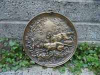 Antique bronze wall plaque hunting dog scene - Pointer dogs relief 19th century