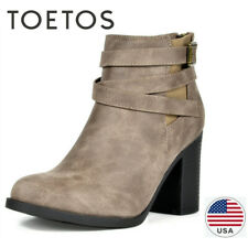 TOETOS Womens Chunky Booties Mid Block Heel Ankle Boots Zipper Casual Shoes