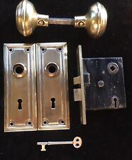 "Antique ""1907"" Brass Backplate Door Knobs Mortise Lock Key Spindle Rod & Screws"