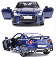 """Model Cars Nissan GTR R35 1:36 Toys Open two doors 5"""" Gifts Alloy Diecast Blue"""