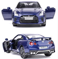 "Model Cars Nissan GTR R35 Alloy Diecast 1:36 Toys Open two doors 5"" Gifts Blue"