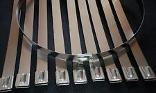 "10x Chrome 12"" Stainless Steel Self Locking Cable Zip Ties Straps Header Wrap"