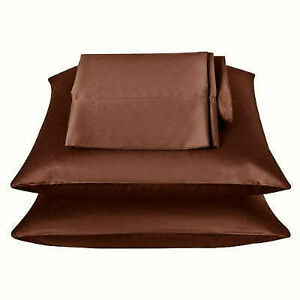 2 Standard / Queen size SATIN Pillow Cases / Covers COPPER BROWN Color-Brand New