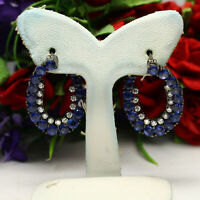 NATURAL HEATED 3 mm. ROUND BLUE SAPPHIRE & WHITE CZ EARRINGS 925 STERLING SILVER