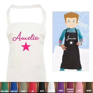 Kids Personalised Apron with Name and Star for Baking Cooking with Pocket