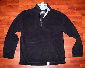 New! Boys THE CHILDREN'S PLACE Solid Black & Gray Fleece PullOver Half Zip Shirt