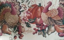 "Printed Fabric Linen Tablecloth 70"" ROUND(4-6 pl) TURKEYS & PUMPKIN,Thanksgiving"