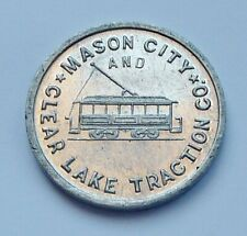 MASON CITY & CLEAR LAKE TRACTION CO. ~ GOOD FOR 5c FARE ~ TRANSPORTATION TOKEN