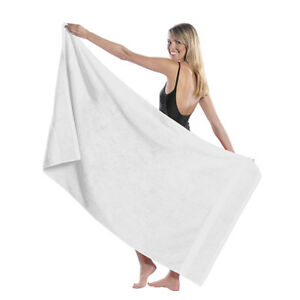 """TowelSoft King Size Dobby HemLoopTerry Beach Towel,100% Cotton-35""""Wx65""""L- WHITE"""