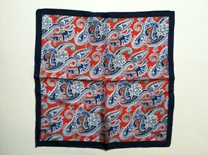 "NWT DANIEL CREMIEUX MENS NEW RED PAISLEY 100%SILK POCKET SQUARE 16.5""X16.5"""