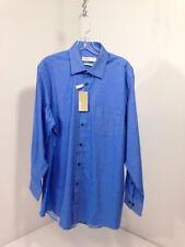 MICHAEL KORS MEN'S TWILL BUTTON UP LONG SLEEVE DRESS SHIRT BLUE LARGE NWT