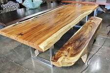 "120"" L Dining desk conference table acacia wood slab stainless steel legs"
